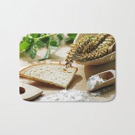 Fresh bread and wheat germ Bath Mat