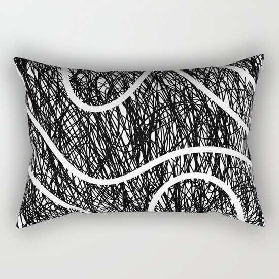 Scribble Ripples - Abstract Black and White Ink Scribble Pattern Rectangular Pillow