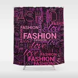Fashion Word Art in Pink and Purple on Black Shower Curtain