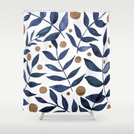 Watercolor berries and branches - indigo and beige Shower Curtain