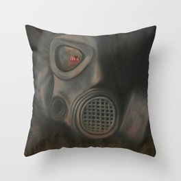 Freak Show Gas Mask Oil Painting Throw Pillow