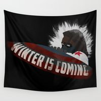 winter soldier Wall Tapestries featuring Winter Soldier Is Coming by Liam Neal