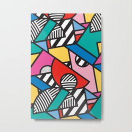Colorful Memphis Modern Geometric Shapes - Tribal Kente African Aztec Metal Print