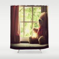 teddy bear Shower Curtains featuring Teddy Bear by MariBee