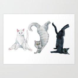 Yoga cats Art Print