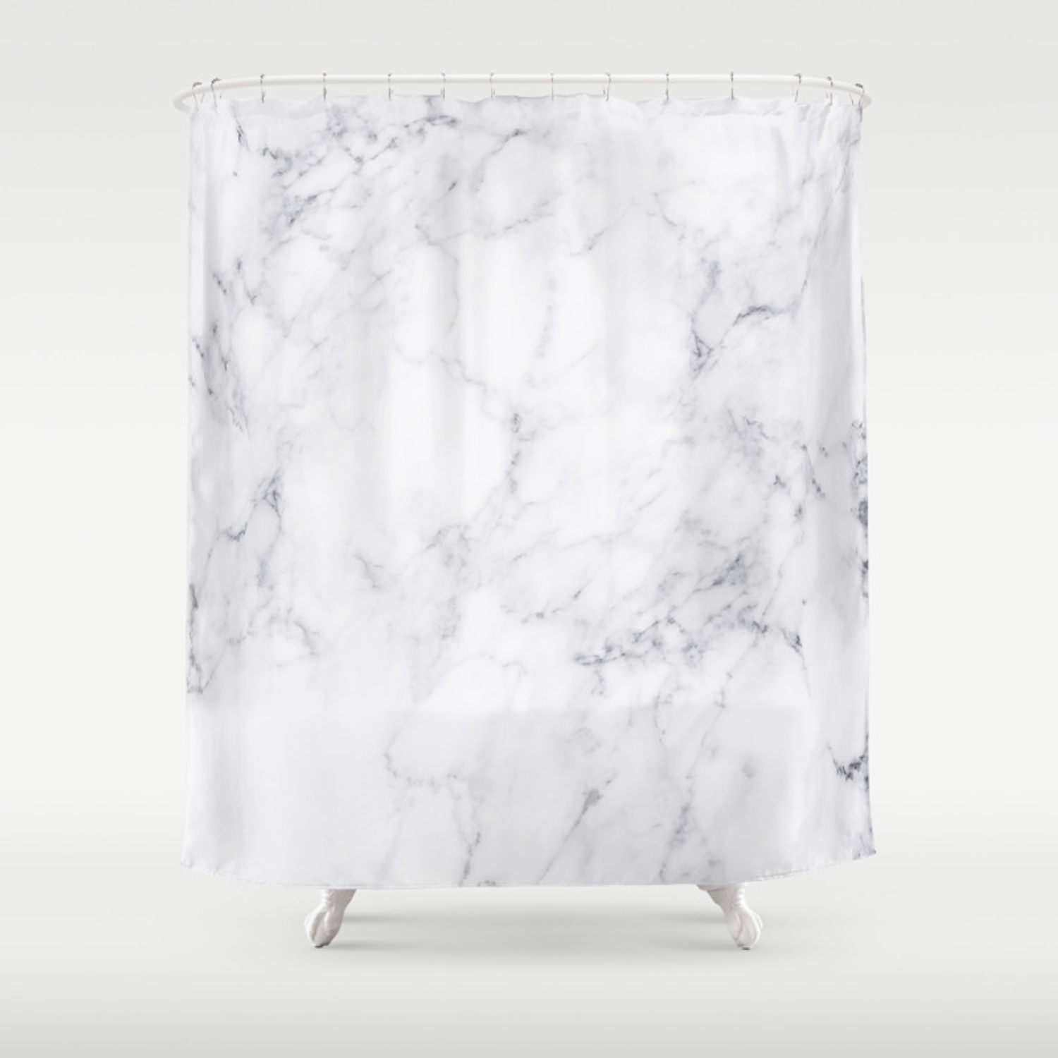 Luxury White Marble Shower Curtain