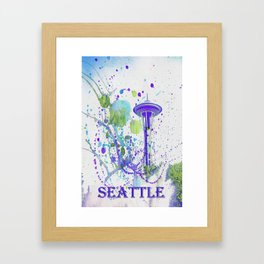 Seattle Space Needle Watercolor Framed Art Print