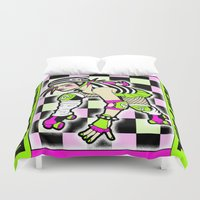 roller derby Duvet Covers featuring ROLLER DERBY GIRL by fINK aRT sTUDIO