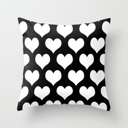 Hearts of Love Black And White Throw Pillow