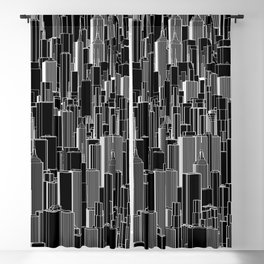 Tall city B&W inverted / Lineart city pattern Blackout Curtain