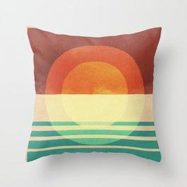 Sun and Ocean -A Minimal Rustic Design Throw Pillow