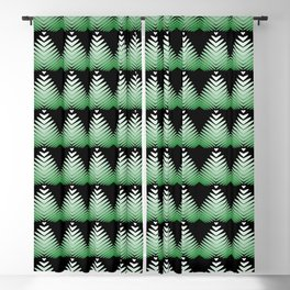 Pattern of green hearts and flowers on a black background. Blackout Curtain