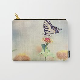 Swallowtail butterfly feeds on colorful zinnia flowers Carry-All Pouch