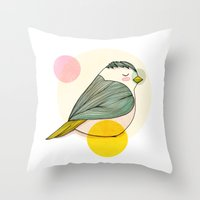 nan lawson Throw Pillows featuring Little Bird by Nan Lawson
