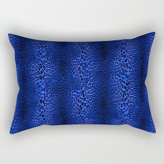 Wild Blue Leopard Rectangular Pillow