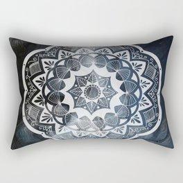 Moroccan white mandala on sky Rectangular Pillow