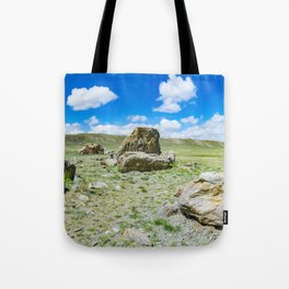Tarkhatinsky megalithic complex. Steppe and blue mountains on the horizon. Altai Russia. Tote Bag