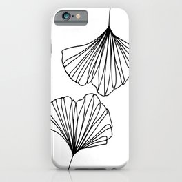 Ginkgo Leaves 01 Minimal Line Art iPhone Case
