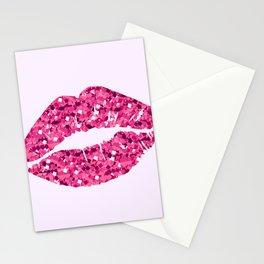 Glitter Pink Lips Stationery Cards