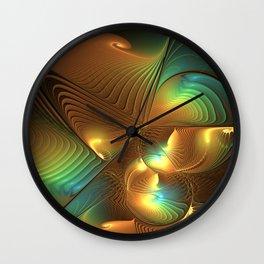 Lights In A Magical World, Abstract Fractal Art Wall Clock