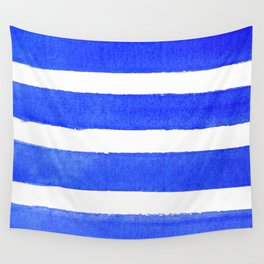 Watercolor Stripes of Blue Wall Tapestry
