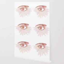 I see you. Rose Gold Pink Quartz on White Wallpaper