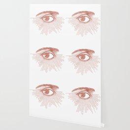 I see you. Rose Gold Pink Quartz on White Wallpaper
