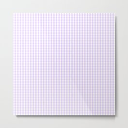 Chalky Pale Lilac Pastel and White Mini Gingham Check Plaid Metal Print
