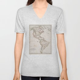 Vintage Map of North and South America (1843) Unisex V-Neck