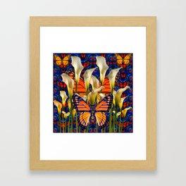 DECORATIVE WHITE CALLA LILIES & MONARCH BUTTERFLY GARDEN COLLAGE Framed Art Print