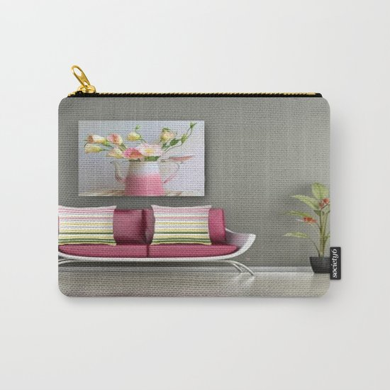 Coffee, Tea or Flowers Vignette Carry-All Pouch