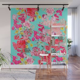 Bright Turquoise/Teal  Antique inspired Floral Print With Hot pink, baby Pink, Coral and Yellow Wall Mural