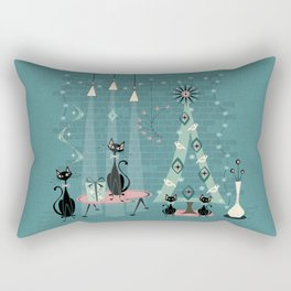 Vintage Cat Family Holiday Rectangular Pillow