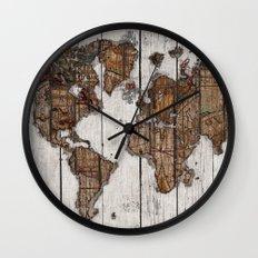 Wood Map 2 Wall Clock