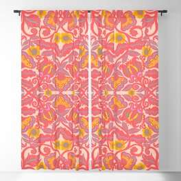 Pink Vines and Folk Art Flowers Patterns Blackout Curtain
