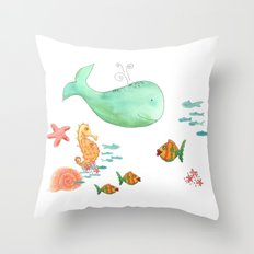 Whale and Sea Life  Throw Pillow