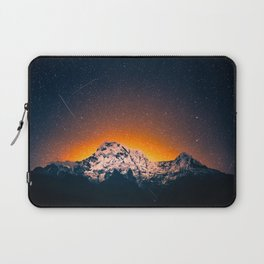 Glowing Snow Mountains Magical Star Night Sky Shooting Star Landscape Laptop Sleeve