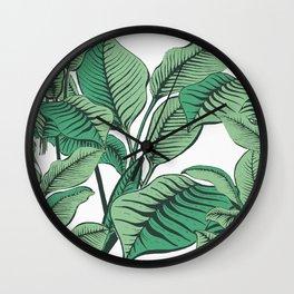 Exotic Tropical Banana Palm Leaf Print Wall Clock