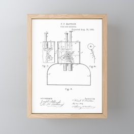 Fare Box Vintage Patent Hand Drawing Framed Mini Art Print