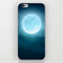 Realistic full moon on night sky with clouds iPhone Skin