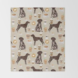 German Shorthair Pointer dog breed custom pet portrait coffee lover pet friendly gifts Throw Blanket