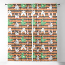 halloween sphynx on stripes (naked cats) Sheer Curtain