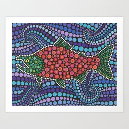 Dotty Red Salmon Art Print