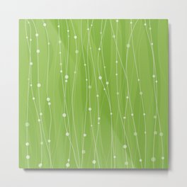 Green Pattern With Lines And Dots Metal Print