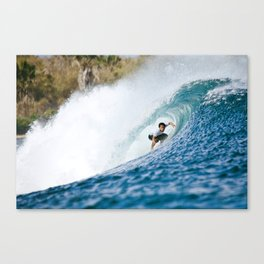 G-Land with Surfer Canvas Print