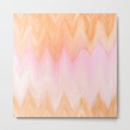 Blush pink orange watercolor hand painted ombre ikat Metal Print