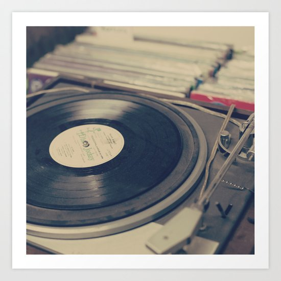 Vintage Turntable and Records  Art Print
