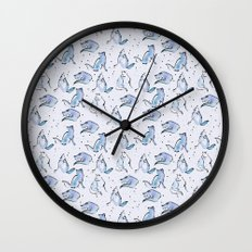 Grey Foxes Wall Clock