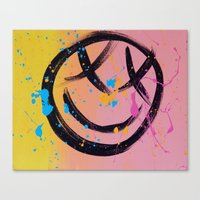 blink 182 Canvas Prints featuring blink 182 smiley face by Ghettobrite