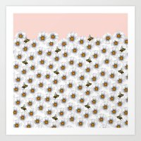 Bees on Daisies - Flora & Fauna Art Print